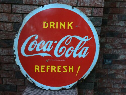 ORIGINAL PORCELAIN COCA COLA DOUBLE SIDED 29 1/2 INCHES ROUND  SIGN DATED 1941