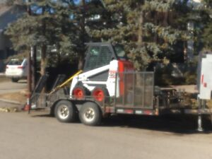 Bobcat for rent and trailer
