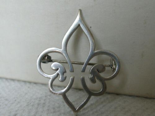 vTg Sterling Silver Stylized Hand Made FLEUR DE LIS Pin Brooch