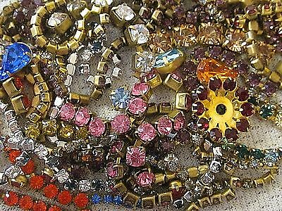 100% SWAROVSKI RHINESTONE CHAIN ROPE STRIPS in SETTINGS LOT VTG FINDINGS CRAFTS