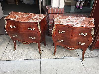 PAIR OF FRENCH STYLE MARBLE BOMBE COMMODES