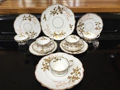 Antique Royal Stafford China England Part Tea Set White And Raised Gilding