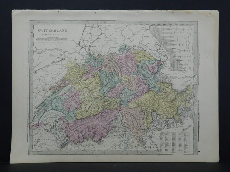 Antique Map, 1875, Europe - Switzerland
