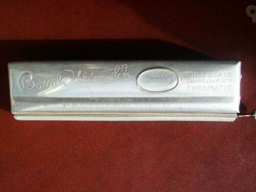 "Antique Borrah Minevitch ""PROFESSIONAL 12"" Harmonica Key G 12-hole Made Germany"