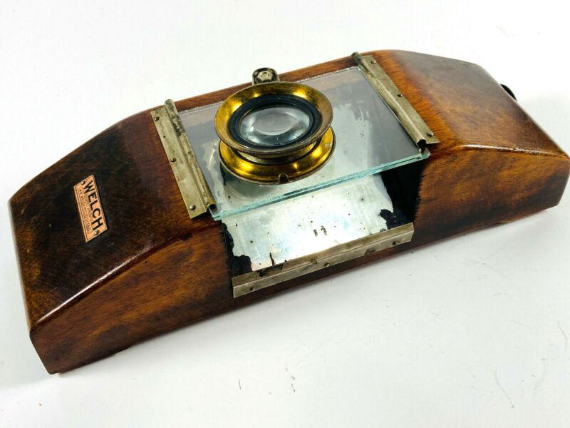RARE W.M. Welch Scientific Wood Glass Brass Field Microscope military? unusual