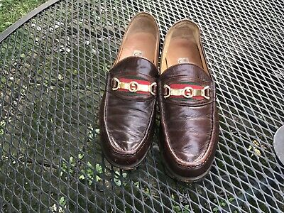 Gucci Vintage GG Dark Brown Leather Size 8 1/2 USA Shoes- NO RESERVE