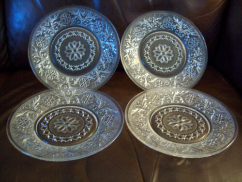 "Anchor Hocking Sandwich Salad Plates 8"" clear glass LOT of 4"