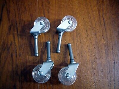 4 Vintage Lucite Plastic Acrylic 1.25 Casters Wheels 1.5 Posts 3 Tall Overall