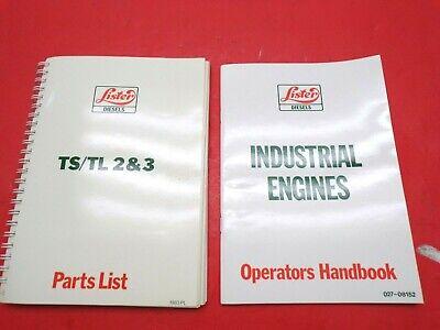 Lister Industrial Engines Operators Parts Manuals Ts Tl 2 3