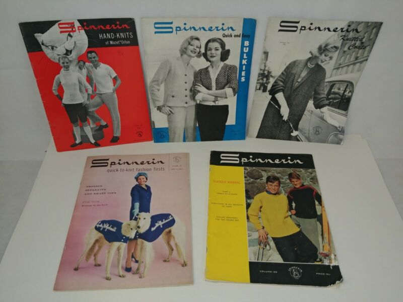 Vintage Spinnerin Knitting Magazines Lot of 5 Knit Fashion