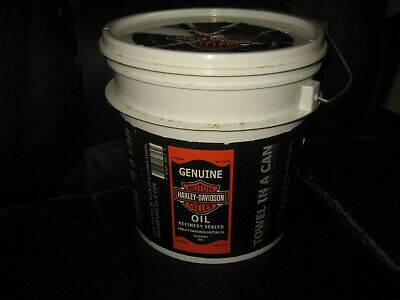 """Vintage Harley Davidson Oil Can Towel In A Can 2005, 30"""" X 60"""" NOS OEM Bucket"""
