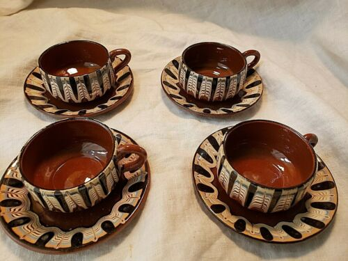 Bulgarian Troyan Redware Pottery Ceramic Cups & Saucers Handmade  Red Clay Set 4