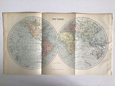 Old Antique Map 1891, Bartholomew, AK Johnston, The WORLD, E & W Hemispheres
