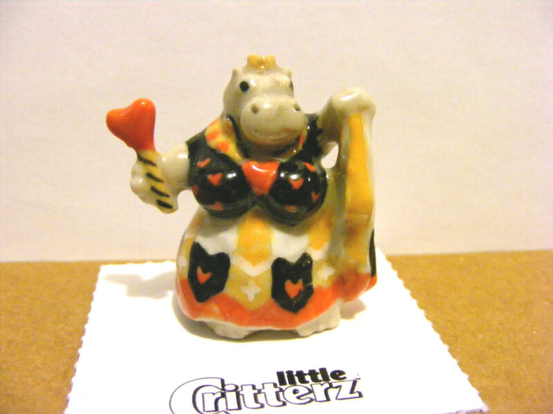 "Little Critterz Hippo ""Queen Of Hearts"" Fairy Tailz, Miniature Animal Figurine"