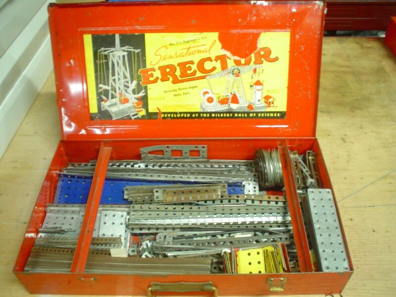 Gilbert Erector No. 7 1/2 steel case with various parts