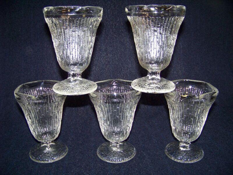 5 Rare &  Unique Jeannette Finlandia Tree Bark Goblet Parfait Glass Cup Dishes