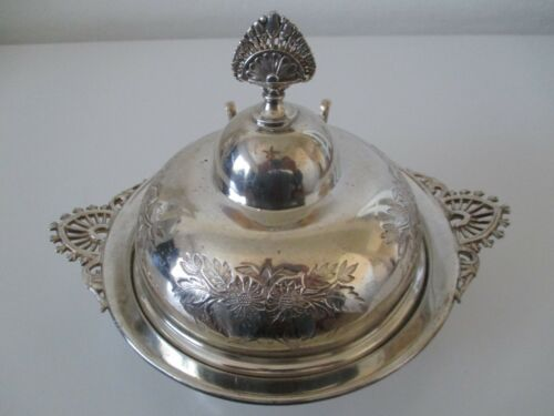 Antique Barbour Silver Co. Dome Lidded Butter Dish Quadruple Plate 69 Vtg Z8