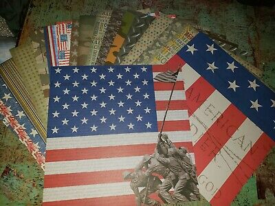 Scrapbook paper 12x12 MILITARY U.S. CAMO FLAG 20 -