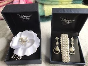 Pearl wedding earrings, bracelet, hair piece