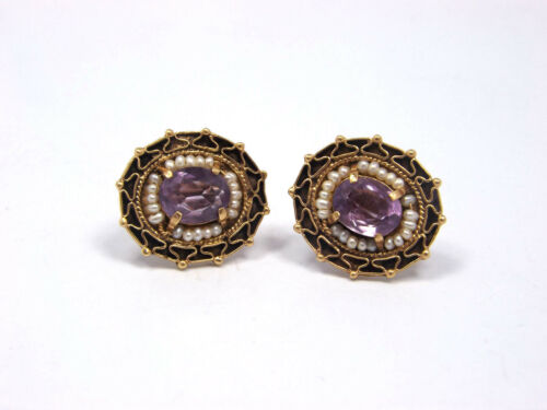 Vintage 14K Yellow Gold Amethyst and Seed Pearl Screw Back Earrings, 8.6 grams