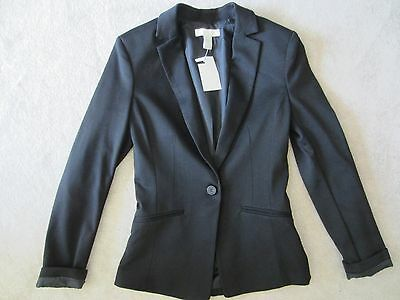 WOMENS H&M BLACK LONG SLEEVE GORGEOUS 1 BUTTON BLAZER JACKET SIZE 4 US/34 EUR