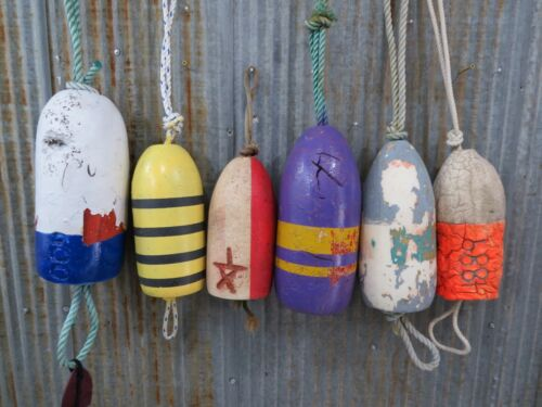 6 Authentic Dungeness Crab Pot Buoys -(E1-778)