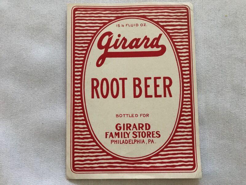 Girard Root Beer Vintage Bottle Label, Girard Stores, Philadelphia, Pa.