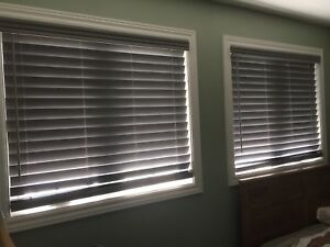 Grey faux wood blinds - new