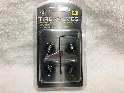 BLACK 4PC Car Wheel Tire M3 Valve Stem Air Dust Anti Theft Lock Fits BMW