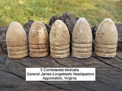 Old Rare Vintage Antique Civil War Relic 5 Bullets James Longstreet Headquarters