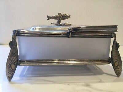 Antique Silver Plate Box with Frosted Glass Insert, Fish on Lid