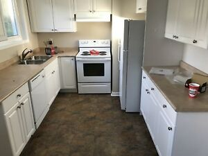 White kitchen cabinets sink faucet stove fridge countertops
