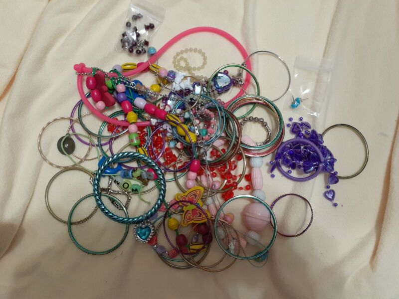 Little Girls Lot Of Jewelry Many Different Items  A