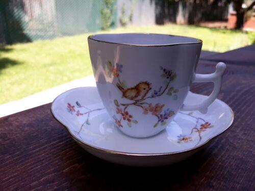 """Rare Vintage HP Signed NANCY CASTERLINE Porcelain China CUP & SAUCER  """"Birds"""""""