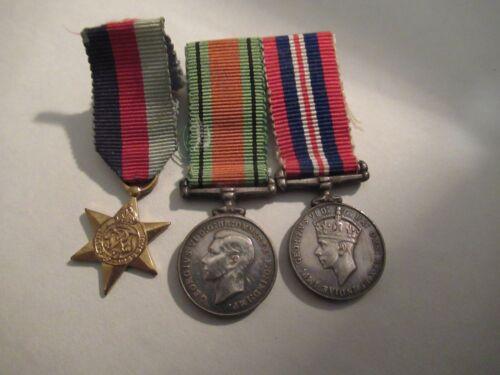 WW2 , GEORGE VI, SILVER MINATURE MEDALS X 3 WAR MEDAL DEFENCE & 1939/1945 STAR