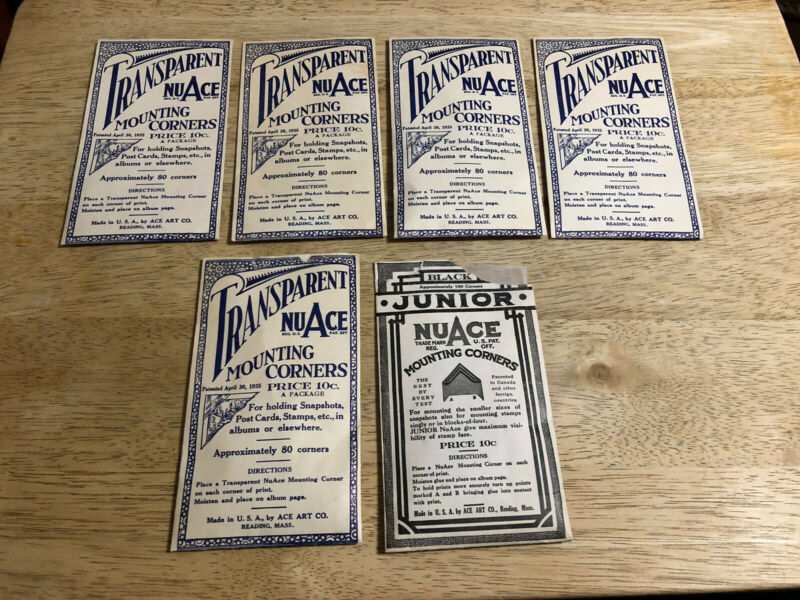 Lot of 6 Packets - Vintage NuACE MOUNTING CORNERS - 4 unopened