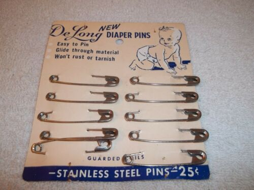 Vtg 10 Unused DELONG BABY DIAPER SAFETY PINS ON ORIGINAL DISPLAY CARD