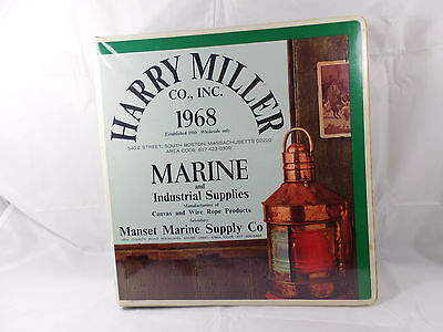 Vintage Harry Miller Co Binder Boston Ma 1968 Manset Marine Supply Me 3-ring