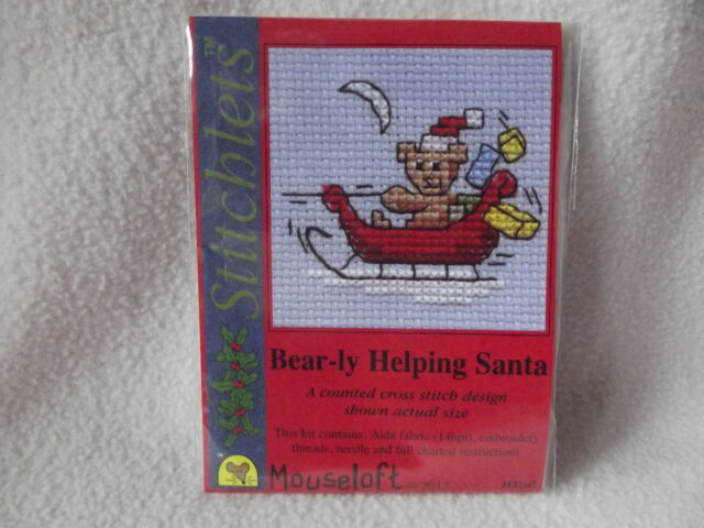 MOUSELOFT STITCHLETS CROSS STITCH KIT ~ BEAR-LY HELPING SANTA ~ CHRISTMAS ~ NEW