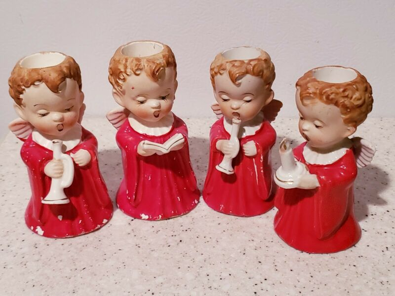 4 Vintage 1953 Ceramic Christmas Angel Candle Holders HICO Japan-Hand Painted