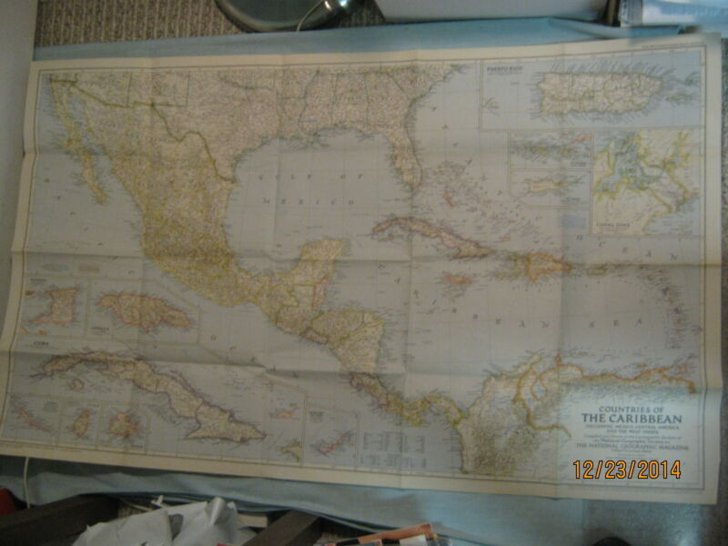 VINTAGE COUNTRIES OF THE CARIBBEAN MAP National Geographic October 1947 MINT