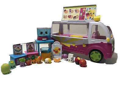 Shopkins Pink Ice Cream Truck Van And Friends With 20 PC Extras Little Fruits