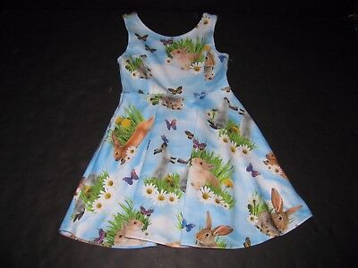 The Childrens Place Girls Size 5-6 Photoreal Dress Easter Bunnies & Butterflies