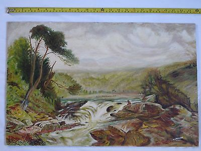 Original Acrylic/Oil painting of a landscape with river, waterfall and trees.