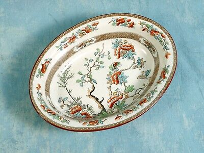 c. 1860 COPELAND Indian India Tree Green Rust Oval Open Vegetable Bowl Dish Green Open Vegetable Bowl