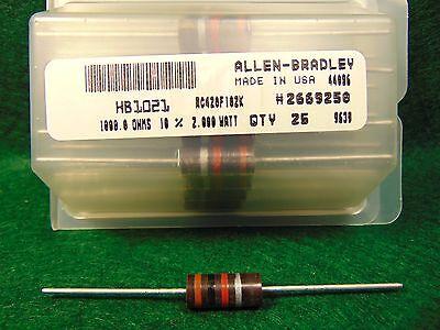 Lot Of 5 Allen Bradley Ab Carbon Comp 1k 1000 Ohm 2 Watt 10 Resistors Nos Nib