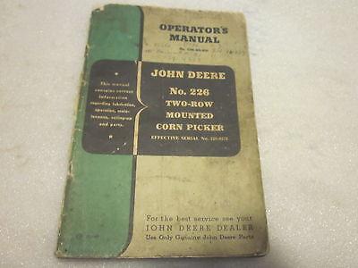 Vintage John Deere Operators Manual 226 2 Row Corn Picker Om-n2-850