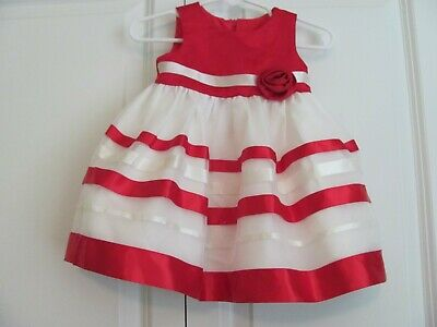 NWD 3-6 MO. BONNIE BABY FANCY RED & WHITE SLEEVELESS DRESS W/ MATCHING PANTIES  - Fancy Baby Panties