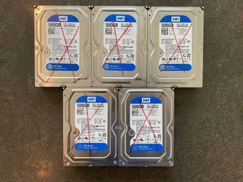"""LOT OF 5 Western Digital Blue WD5000AAKX 500GB 3.5"""" SATA 7200RPM Hard Drives"""
