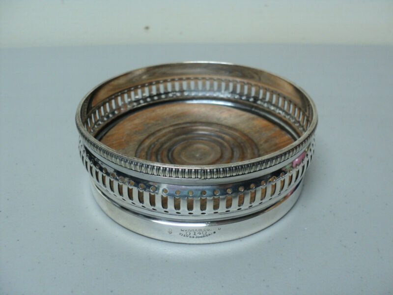 STUNNING ANTIQUE GORHAM SILVER PLATED WINE COASTER #0140, TURNED WOOD BASE